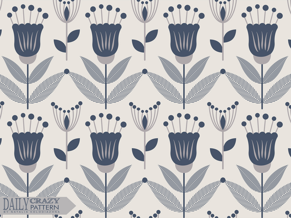 "Floral vintage pattern for ""Daily Crazy Pattern"" project by Natalia Kolodiazhna"