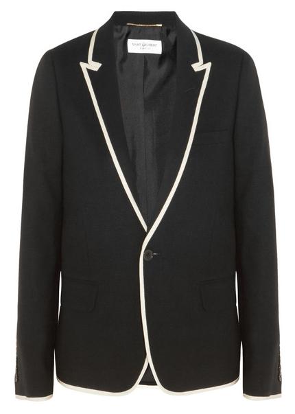 Blazer negro con ribetes blancos Saint Laurent SS 2016
