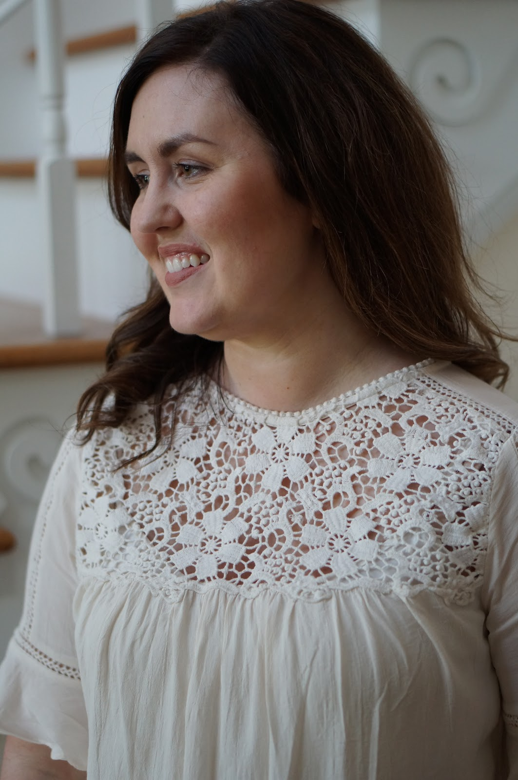 Popular North Carolina style blogger Rebecca Lately shares a gorgeous lace yoke detail top.  Click here to read about this summer appropriate work look!