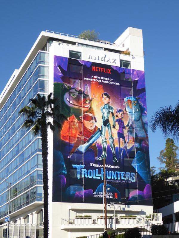 Giant Trollhunters series launch billboard