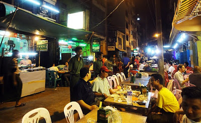 the intriguing open air Yangon 19th street food scene is a cheap one