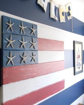 homemade coastal style wood flag