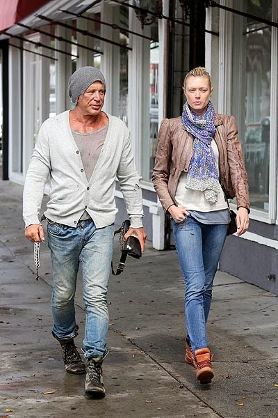 Mickey Rourke and Anastasia Makarenko for a walk in Hollywood