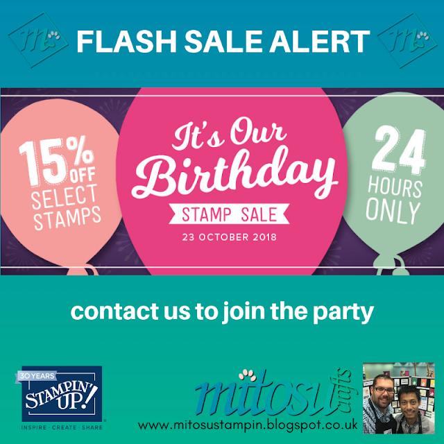 Stampin' Up! FLASH SALE online promotion. 15% OFF Selected Stamp Sets from Mitosu Crafts UK online shop