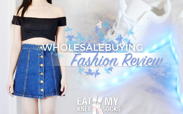 Today's fashion review involves my latest package from Wholesalebuying, including a black off-shoulder crop top and a pair of white LED light up sneakers. Details ahead! - Eat My Knee Socks