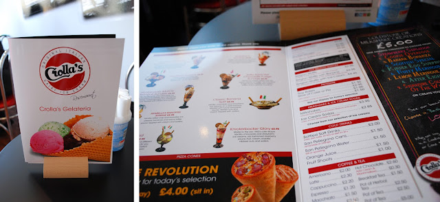 Crolla's gelateria Aberdeen - menu