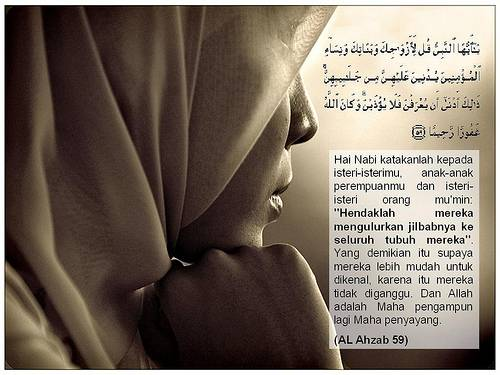 Hukum Memakai Jilbab Bagi Wanita Muslimah  Kaligrafi unik