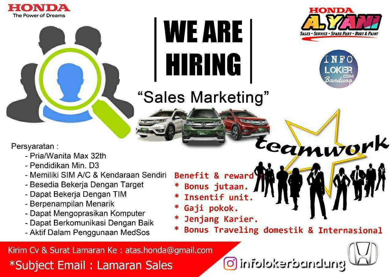 Lowongan Kerja Honda Ahmad Yani Bandung Oktober 2018