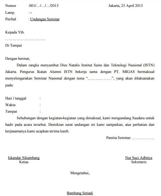 Contoh surat undangan seminar nasional himpunan mahasiswa terbaru surat undangan seminar stopboris Gallery