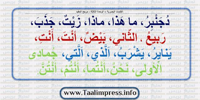 لوحات الكلمات البصرية لجميع وحدات مرجع المفيد في اللغة العربية للمستوى الأول ابتدائي