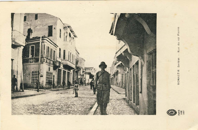 "Sirok Skokak street known at the time as King Peter Street. Postcard from 1917. The picture was taken in front of the old hotel ""Macedonia"" toward north. Posted on December 4, 1918 to: Madmoaselle Suzanne De Fois Villa Caprice Canderan, France"