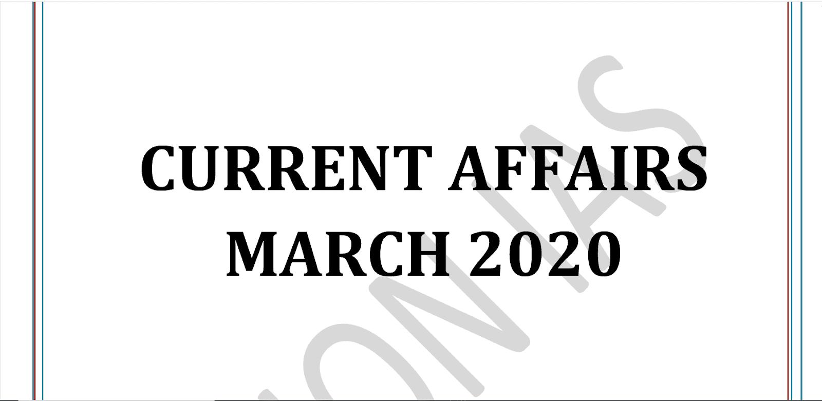 Vision IAS Current Affairs March 2020 pdf