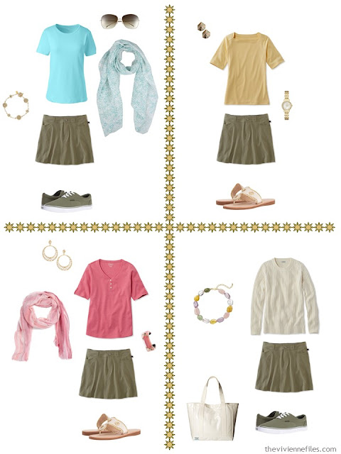 four travel capsule wardrobe outfits including an olive green skort