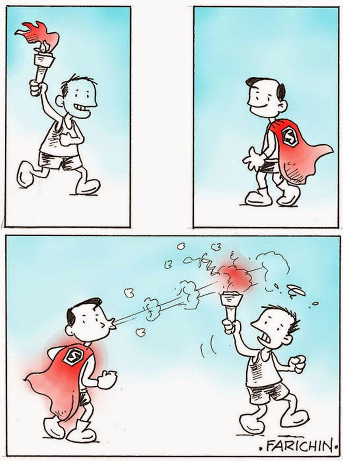 KARTUN SUPERMAN MENIUP OBOR Gambar Kartun Lucu Dan Wallpaper