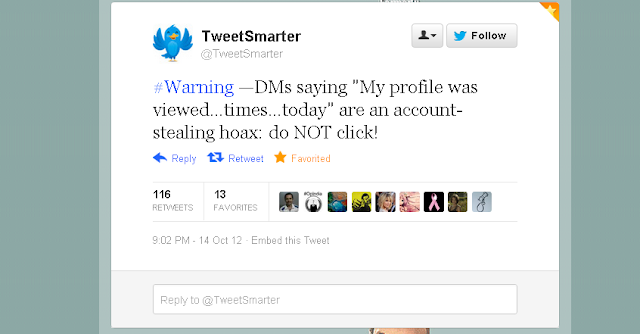 """Twitter warning, Do not click DM saying """"My profile was viewed..times..today"""""""