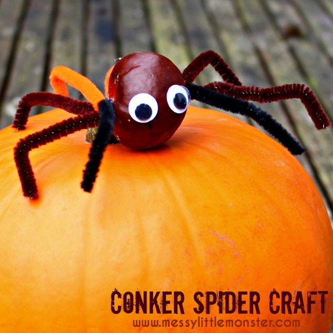 Easy conker spider craft for kids. A great autumn activity idea for toddlers and preschoolers working on fine motor skills.