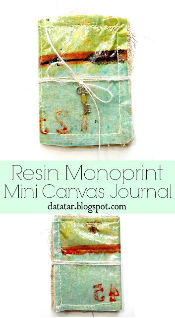 Resin Monoprint Mini Canvas Journal Tutorial by Dana Tatar for Paper Wings Productions