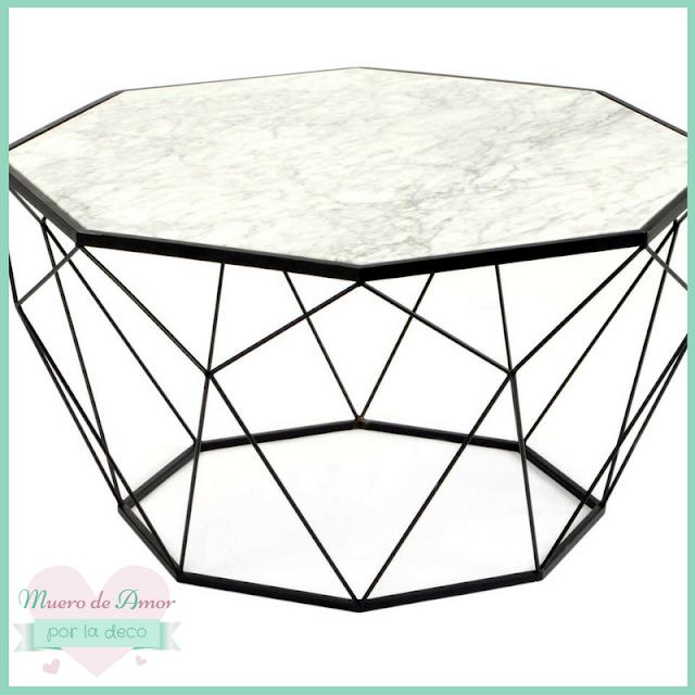 Mesa de metal y mármol