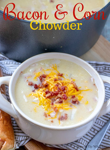 Bacon and Corn Chowder soup recipe from Served Up With Love