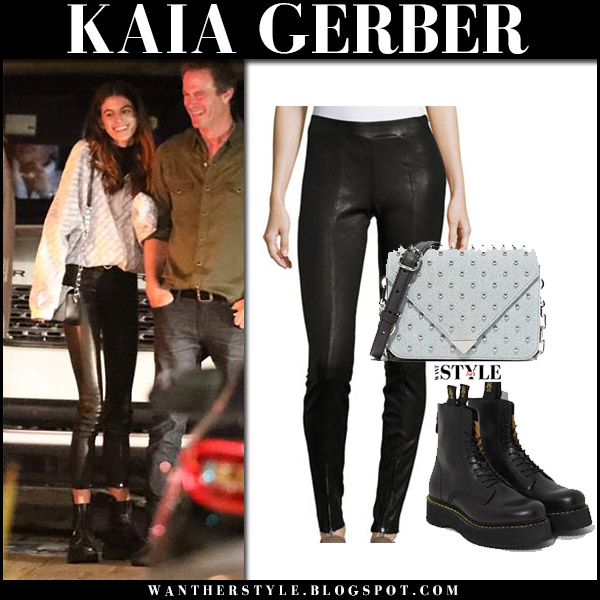 Kaia Gerber in black leather skinny pants and black leather combat boots r13 model street style october 8 2017