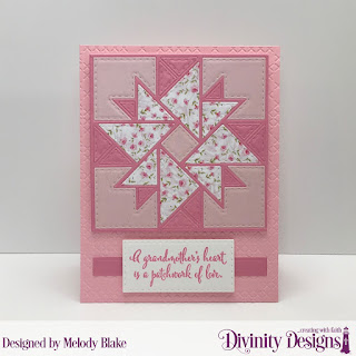 Divinity Designs Stamp Set: Grandmother's Heart, Custom Dies: Quilted Triangles, Double Stitched Rectangles, Rectangles, Embossing Folder: Cross Stitch, Paper Collections: Pretty Pink Peonies, Christmas 2018