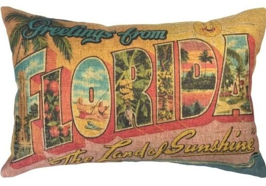 Greeting from Florida Vintage Pillow