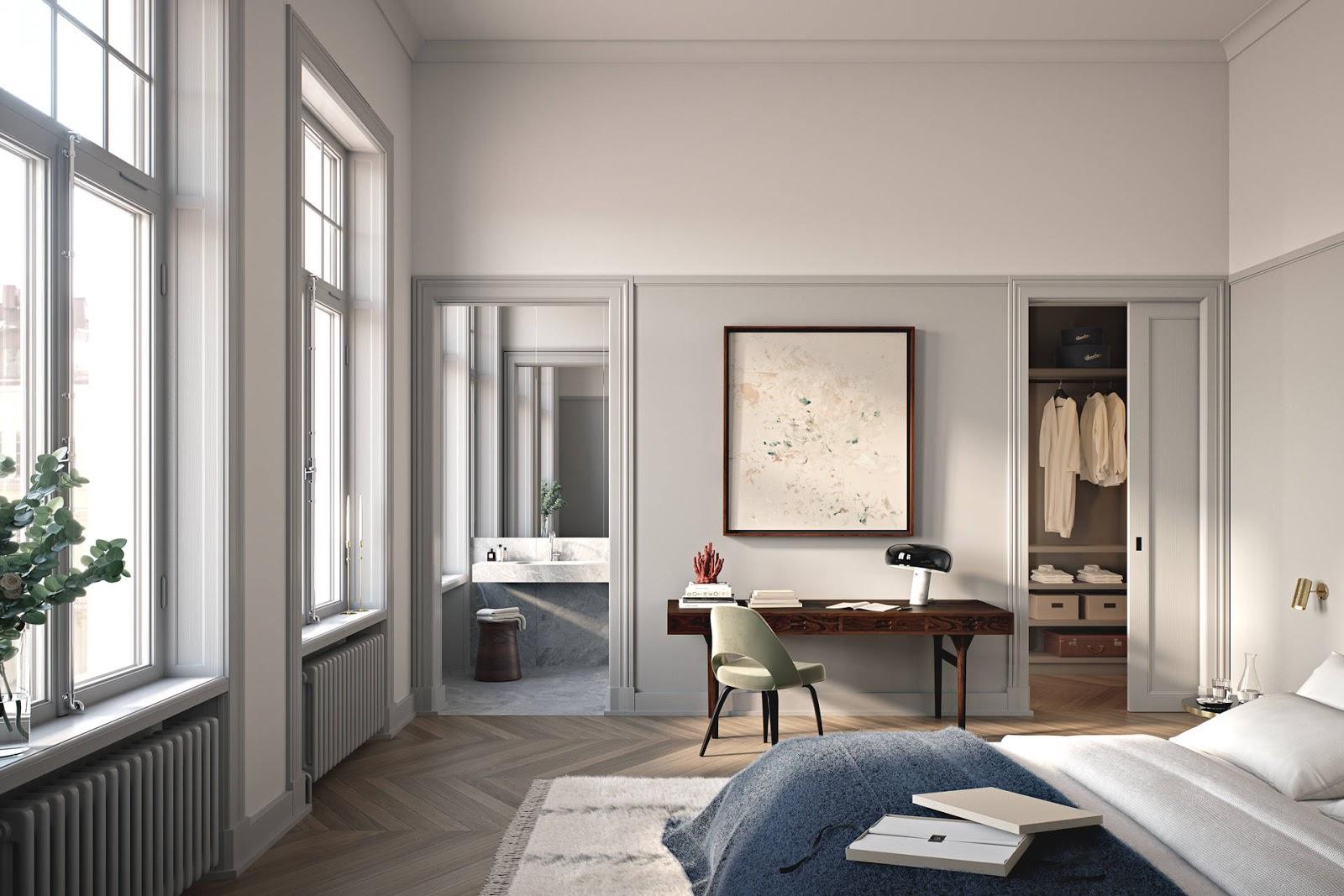 mid century modern writing desk, retro chair, elegant small scandinavian apartment