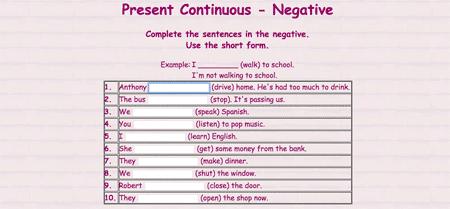 Ejercicios de formación del Presente Continuo negativo en inglés