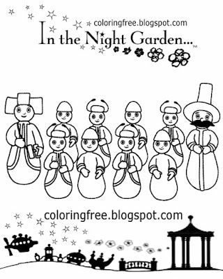Tiny house people Wottingers blue and red Pontipines in the night garden clipart childrens coloring