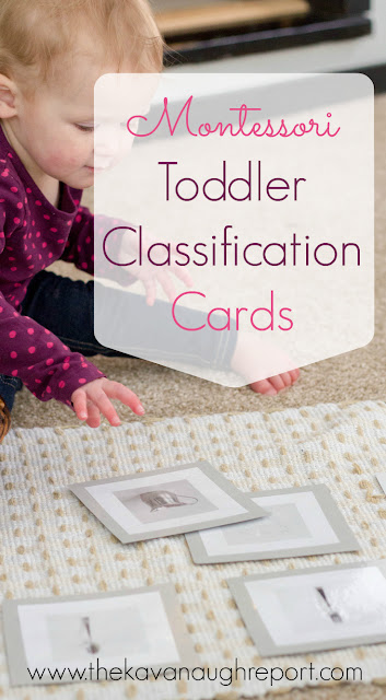 Pre-matching Montessori work for toddlers. These classification cards help toddlers start to identify objects and classify them into groups.