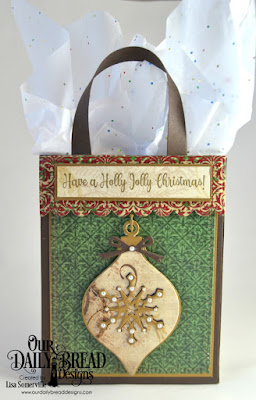 Our Daily Bread Designs Stamp Set: Holly Leaves, Custom Dies: Card Caddy & Gift Bag, Gift Bag Handles & Topper, Ornament, Christmas Ornament, Circle Ornament, Snow Crystals, Snowflake Sky, Ornament Branch, Paper Collection: Christmas 2013