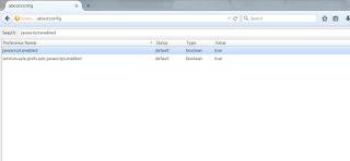 في مربع البحث، ابحث عن javascript.enabled