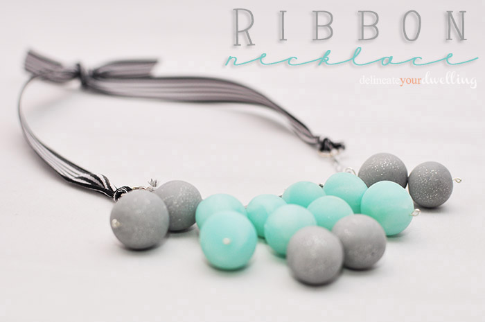 Ribbon and clay bead necklace