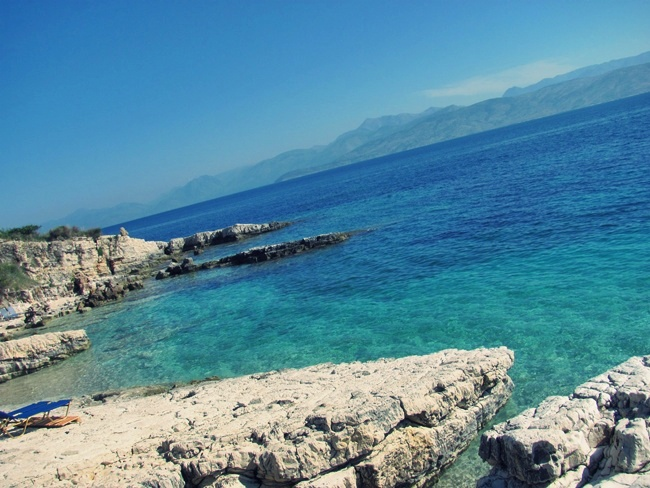 Kassiopi beach with rocks