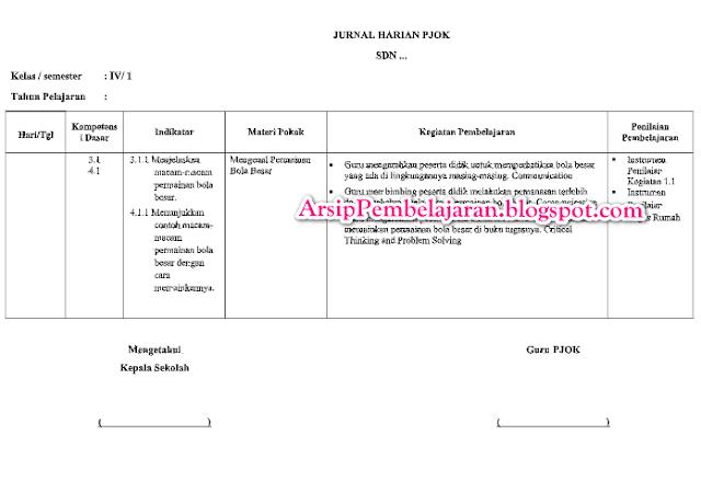Salah satu perangkat pembelajaran yang harus dibuat Jurnal Harian Kelas 4 PJOK SD/MI Kurikulum 2013 Revisi 2018