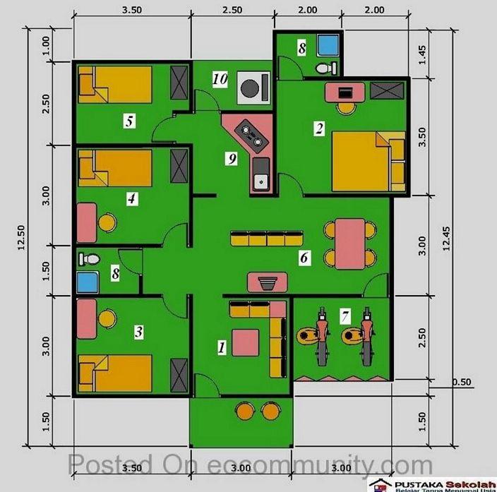 denah rumah ukuran 6x8m 3 kamar tampak minimalis