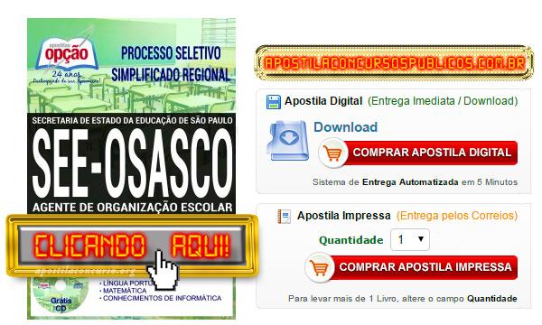 Apostila SEE SP 2017 Osasco PDF Agente de Organização Escolar