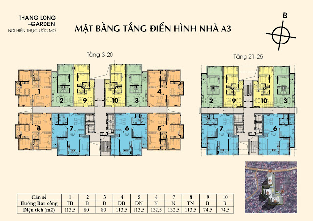 Sơ đồ mặt bằng tòa A3 chung cư 250 Minh Khai Thăng Long Garden