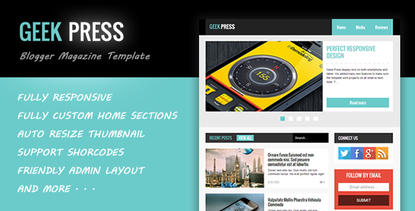 Free Download GeekPress Blogger Responsive Themeforest Template