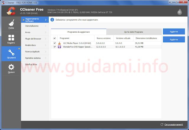 CCleaner 5.55 schermata Strumenti Aggiornamento software