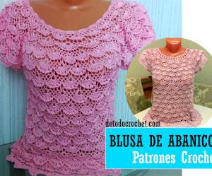 Patrones de Blusa de Abanicos Crochet DIY