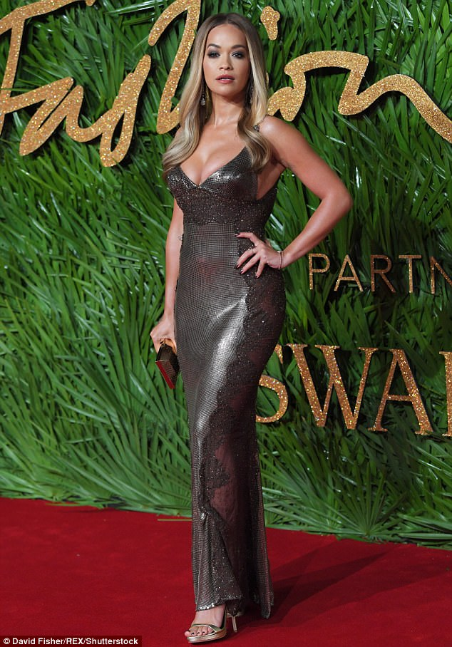 Rita Ora is a bombshell in Versace at the 2017 Fashion Awards