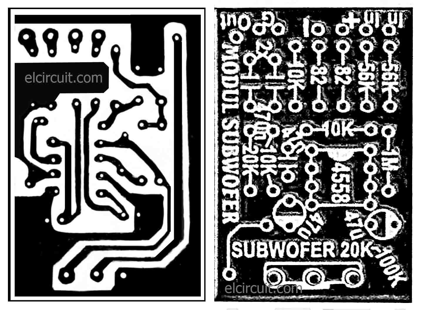 Subwoofer Module Amplifier Using 4558 With Pcb Electronic Circuit L Filter Diagram Ic Layout Design