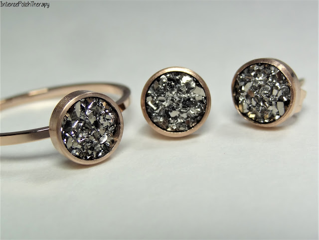 Happiness Boutique | Druzy Rose Gold Stud Earrings & Ring