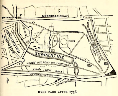 Map of Hyde Park from The Story of the London Parks by J Larwood (1874)