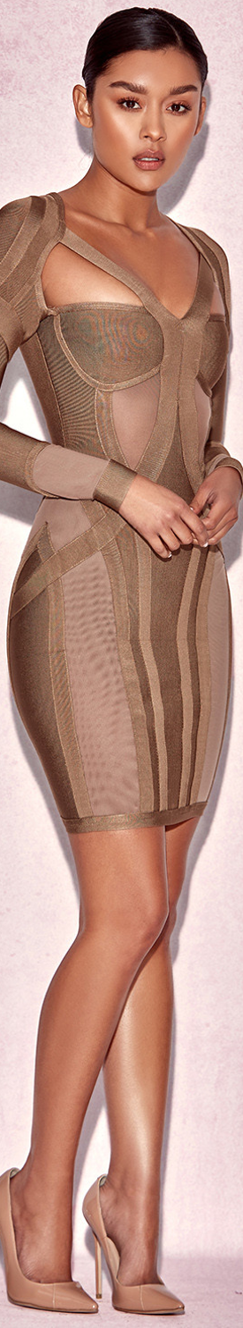 HOUSE OF CB 'ROSLIZA' TAUPE MINI BANDAGE DRESS