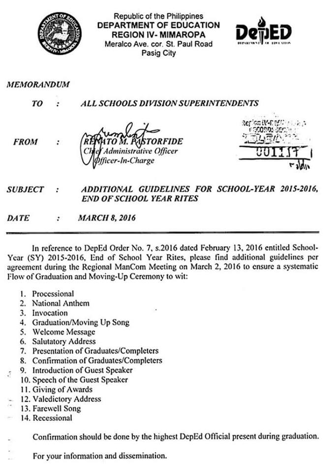 Approved Flow of Graduation and Moving-Up Ceremony | DEPED ...
