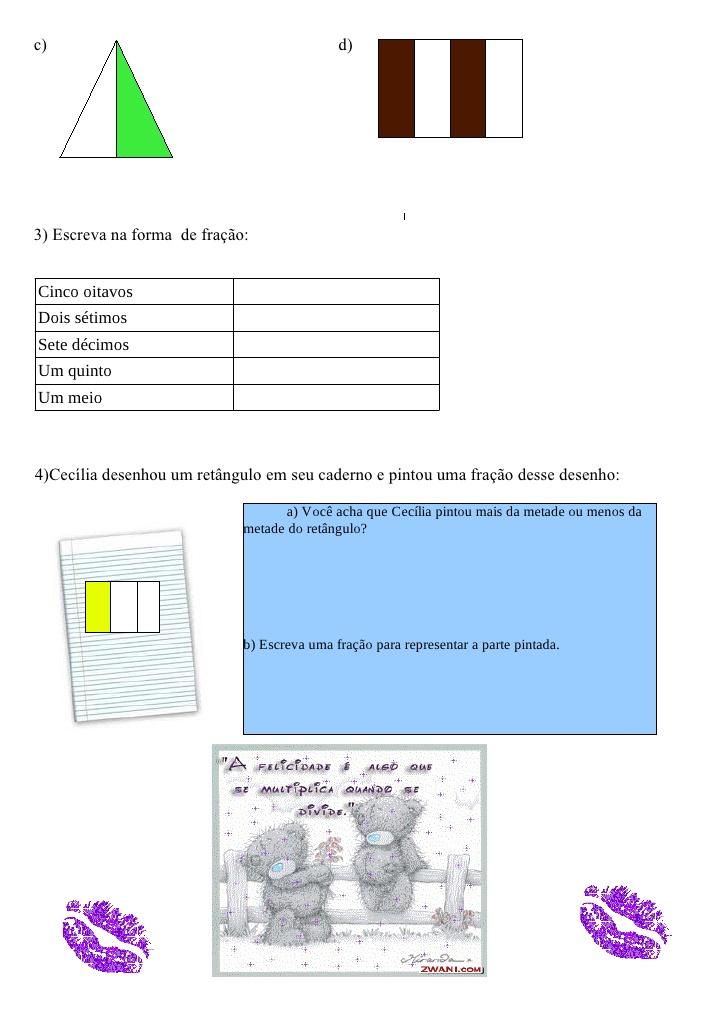 Exercício de Matemática sobre Frações para 4 ano