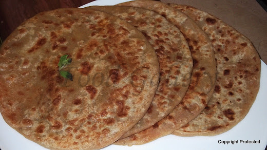 Aloo paratha, potato stuffed flat bread