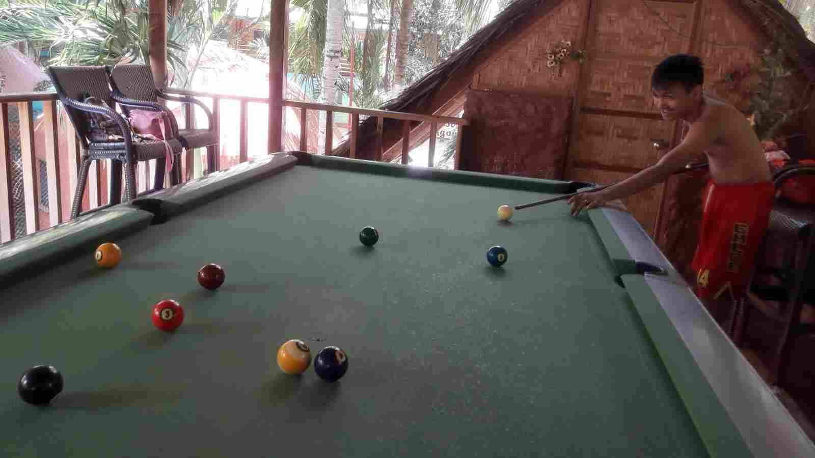 budget cheap resort in panglao white island bohol philippines in 2018, best travel summer vacation tour, panglao chocolate hills resort billiard area, billiard playing with barkada